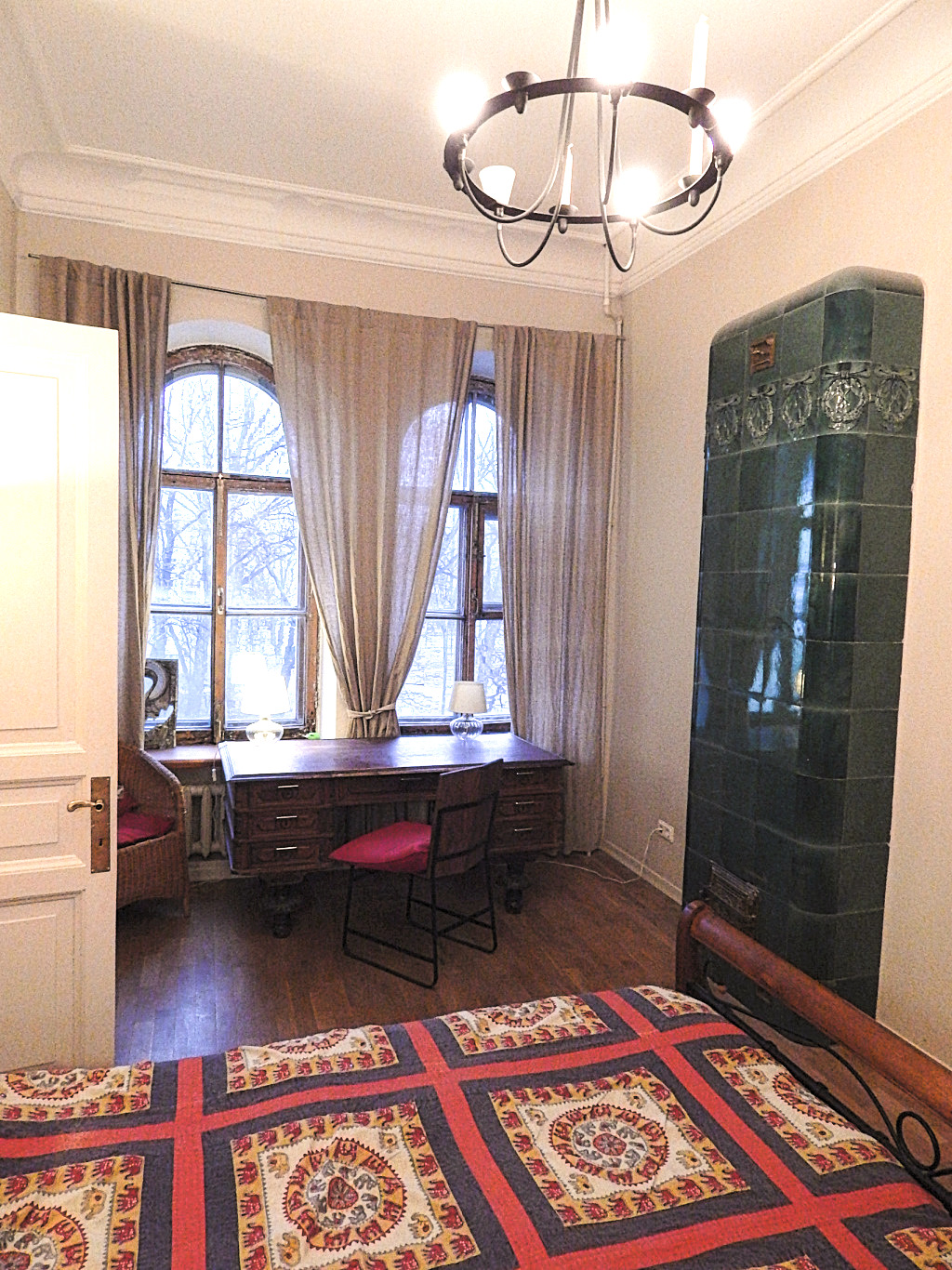 view of room with antique furniture in guesthouse in St Petersburg